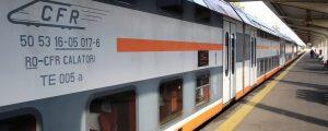 "bukarest tag panorama 300x120 - BUCHAREST, ROMANIA - MAY 15, 2014:  A Compania Nationala de Cai Ferate ""CFR"" railroad train at the G"