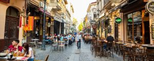 bukarest turister panorama 300x120 - Bucharest, Rumania - 28.04.2018: Tourists In Old Town And Restaurants On Downtown Lipscani Street, O
